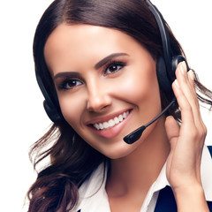 Portrait of customer support phone operator