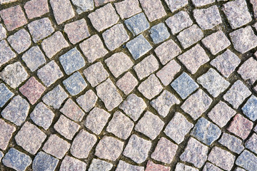 cobblestones on the ground of a city  avenue