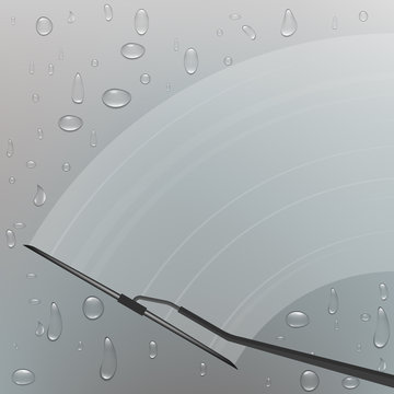 Creative vector illustration of realistic car windscreen wipe glass, wiper cleans the windshield isolated on transparent background. Art design window brush template. Abstract concept graphic element
