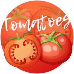 Whole and half of tomato vegetable. Cartoon vector icon on bright red gradient background