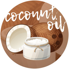 Coconut oil in bottle. Cartoon vector icon on brown gradient background