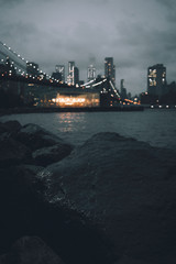 silhouette of Brooklyn Bridge, New York City