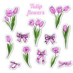 Set of stickers with hand drawn colored  sketch of pink  tulip flowers, leaves and bows isolated on white  background.