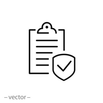 insurance icon, coverage policy linear sign on white background - editable stroke vector illustration eps10