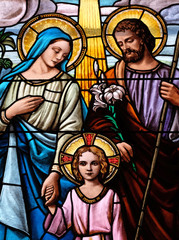Holy Family, stained glass window in the Parish Church of the Visitation of the Virgin Mary in Zagreb, Croatia