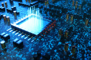 AI - artificial intelligence concept CPU. Machine learning. Central Computer Processors on the circuit board with luminous tracks. Encoded data. Computer chip over circuit background. 3D Illustration