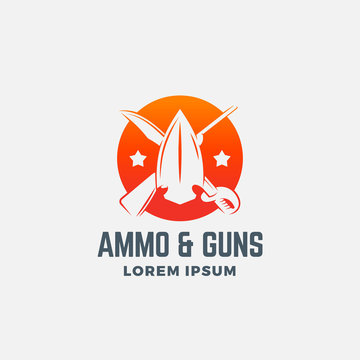 Ammo and Guns Abstract Vector Icon, Symbol or Logo Template. Crossed Riffle, Sword and Arrow Head Sillhouettes in a Circle with Typography.