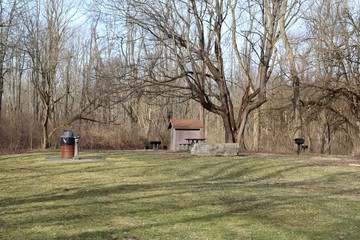 The picnic area in the forest of the park.