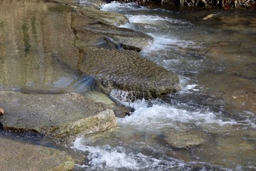 The water flowing over the big rocks in the creek.