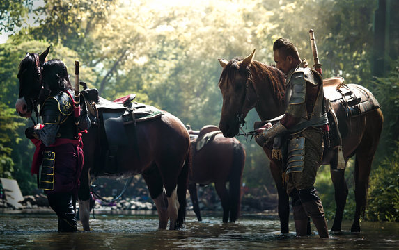Aisan Thai soldier in armor suit with horse