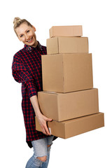 woman carrying stack of cardboard boxes isolated on white background