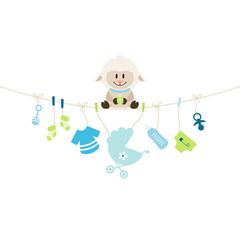 Schaf & Hängende Babyicons Junge Blau/Grün