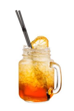 Alcohol cocktail isolated on white. Lynchburg Lemonade