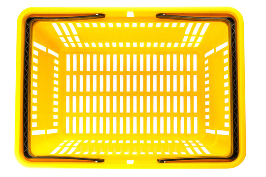 Overhead view of empty plastic shopping basket isolated on white background