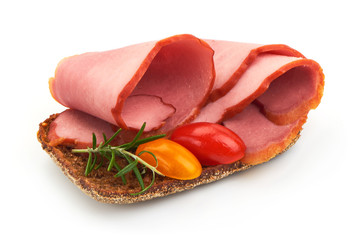 Smoked pork brisket, ham slices, preserved fillet, close-up, isolated on white background