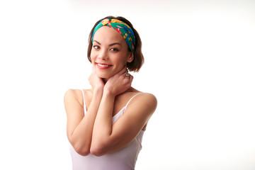 Beautiful young woman portrait with turban style headband