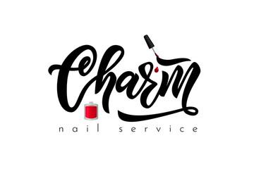 Hand lettering logo Charm nail service. Vector illustration