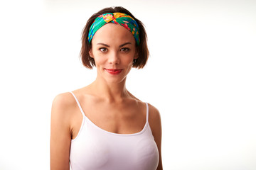 Beautiful young woman portrait whit turban style headband