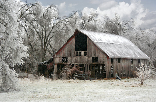 Rustic Weathered Barn Farm Ice Storm Springfield Southwest Missouri MO