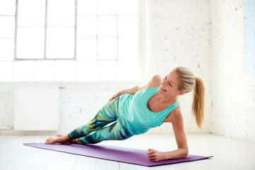 Woman doing plank exercises
