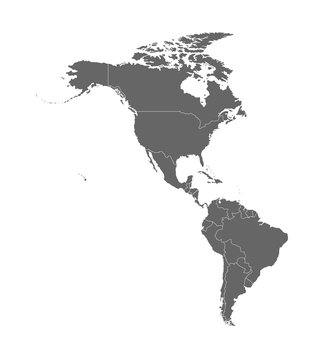 Vector illustration with map of North and South America continent with countries borders. Grey silhouettes, white background. White line borders of countries
