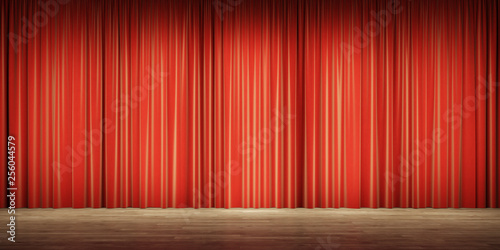 Background Image Of Red Velvet Stage Curtains Stock Photo And