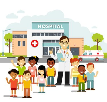 Pediatrician doctor concept. Young man practitioner and happy children in flat style isolated on white background. Doctor and group of kids standing together on hospital background. Consultation