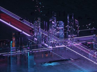 Neon light Futuristic city isometric view.Data base. Big data. Coding