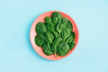 Green fresh vegetarian salad leaves on coral plate on blue background. Fototapete