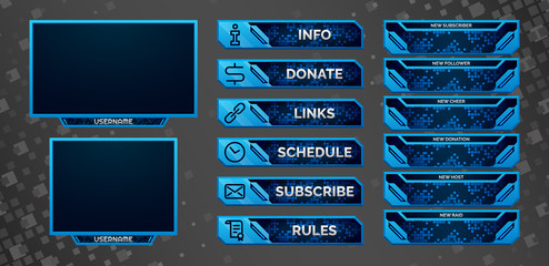 Set of blue gaming panels and overlays for cybersport streamers. Alerts and buttons. Twitch facecam, 16:9 and 4:3 screen resolution. Eps10 vector