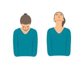 Vector colorful illustration. Neck exercises by girl for relax. Pull down your head and fix this. Then head back and fix this again.  Creative concept. Blue and grey colors. White background