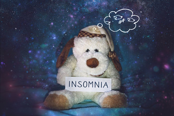 Insomnia, sleeplessness, sleep disorder, trouble sleeping, mental exercise concept. Soft toy dog in nightcap counting sheep and text insomnia on star night background