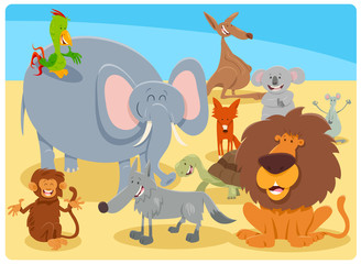 cartoon happy animal characters group