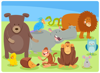 funny cartoon animal characters group