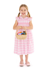 Easter: Girl Stands With Basket Of Easter Eggs And Candy
