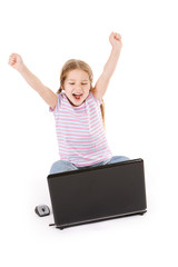 Computer: Girl Excited And Cheering While Using Laptop
