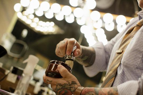 Barber lathers shaving brush
