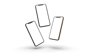 Gold, silver and black smartphones with blank screen, isolated on white background. Template, mockup.