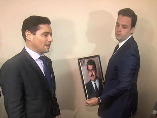 Opposition envoy Vecchio replaces picture of Maduro with picture of Guaido after taking control of Venezuelan building in Washington