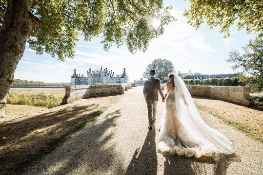 Elegant newlywed couple. Bride in a luxurious dress with a long bridal veil. They go to the old beautiful castle in France
