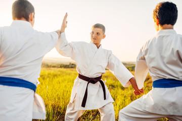 Junior karate fighters, outdoor training fight