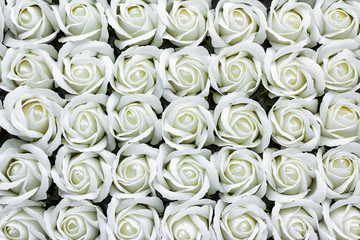 White rose flower made from soap close-up background