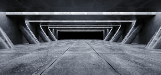 Triangle Columns Grunge Concrete Sci Fi Elegant Modern Futuristic Spaceship Underground Tunnel Hall Gallery Room Empty Space Tiled Floor Reflections Abstract Background Alien 3D Rendering