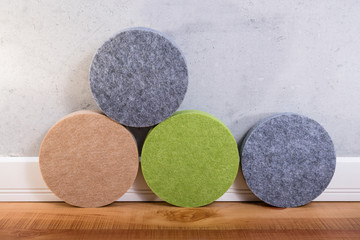 Samples of acoustic panels for indoor use