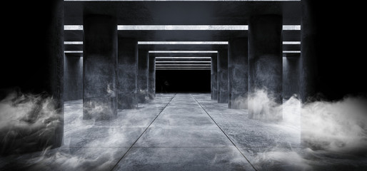 Smoke Fog Grunge Concrete Sci Fi Elegant Modern Futuristic Spaceship Underground Tunnel Hall Gallery Room Empty Space Tiled Floor Reflections Abstract Background Alien 3D Rendering