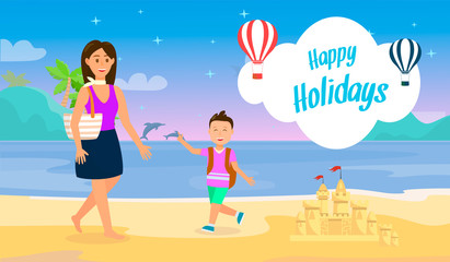 Happy Holidays Travel Postcard with Lettering