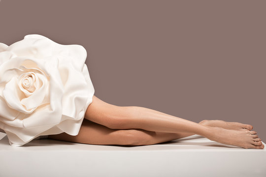 hair removal concept. Long beautiful legs. Slim and smooth