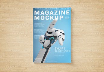 Magazine Cover on Textured Surface Mockup