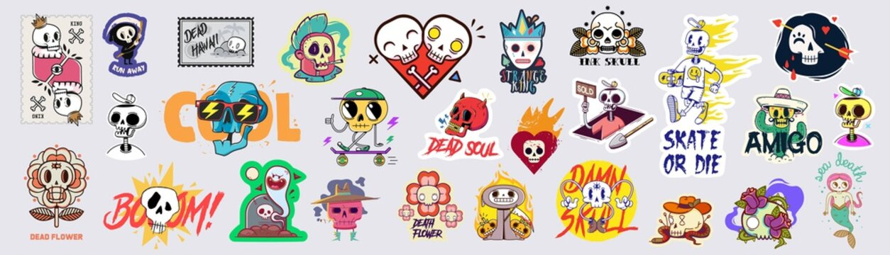 Set of funny cartoon varied skull stickers.