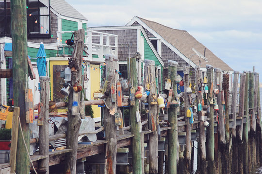 Buoys Hanging by Ropes on Dock in Provincetown in Cape Cod Boston Massachusetts